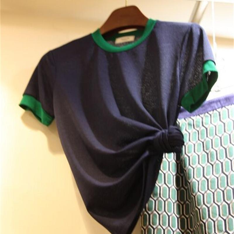 Été Nouveau contraste O T-shirt à manches courtes à manches manuelles pour femmes Tout mon possible match Slim Tops 210421