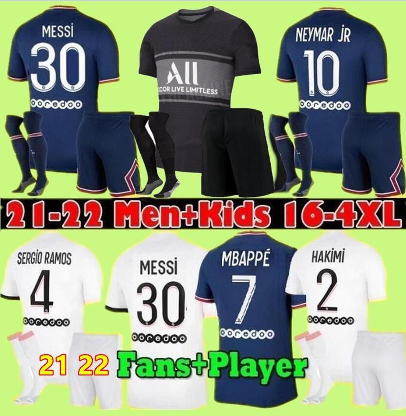 Hayranları oyuncu 21 22 Messi Mbappe Futbol Jersey Hakimi Wijnaldum Erkekler Çocuk Setleri 2021 2022 Marquinhos Verratti Sergio Ramos Maillots de Futbol Gömlek Kiti