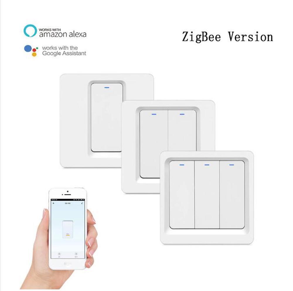 Tuya Zigbee Smart Wall Light Interruptor Botão Botão N + L Requisitado, Temporizador Voz Speaker Share Control Alexa Google Home Compatível