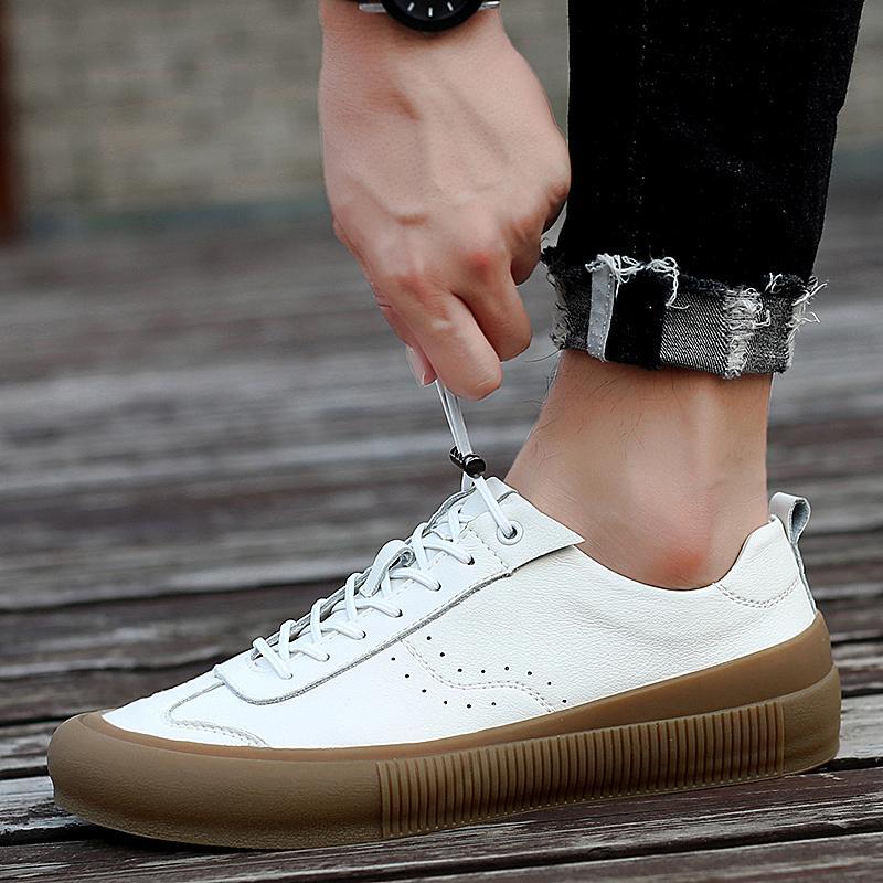 الرجال جلد طبيعي الأحذية الدانتيل يصل الرجال عارضة الأحذية الفاخرة ماركة أزياء أحذية رياضية الرجال الأبيض تنفس الأحذية