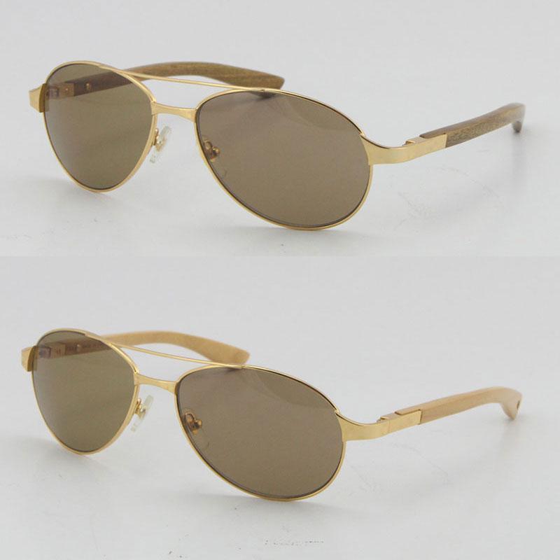도매 판매 야외 운전 선글라스 4480317 C 장식 골드 프레임 나무 안경 고품질 나무 안경 남성과 여성 혼합 된 뿔 UV400 렌즈