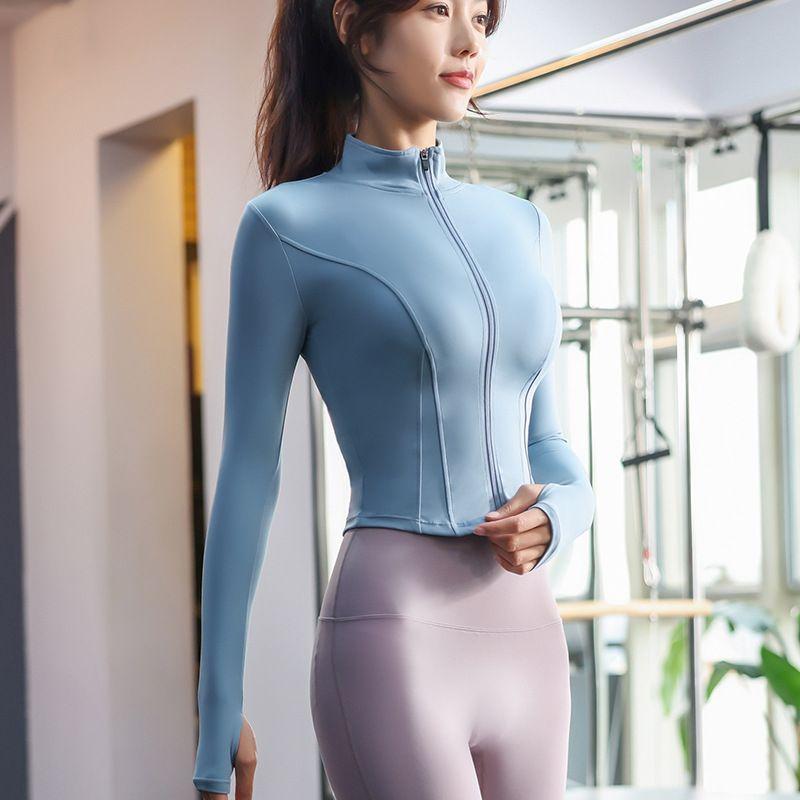 Lulu Legging Kısa Egzersiz Giysileri Bayan Hızlı Kuruyan Spor Uzun Kollu Sıkı Streç Yoga Ceket Yeni Standı Yaka Egzersiz Giysi Ceket Lu