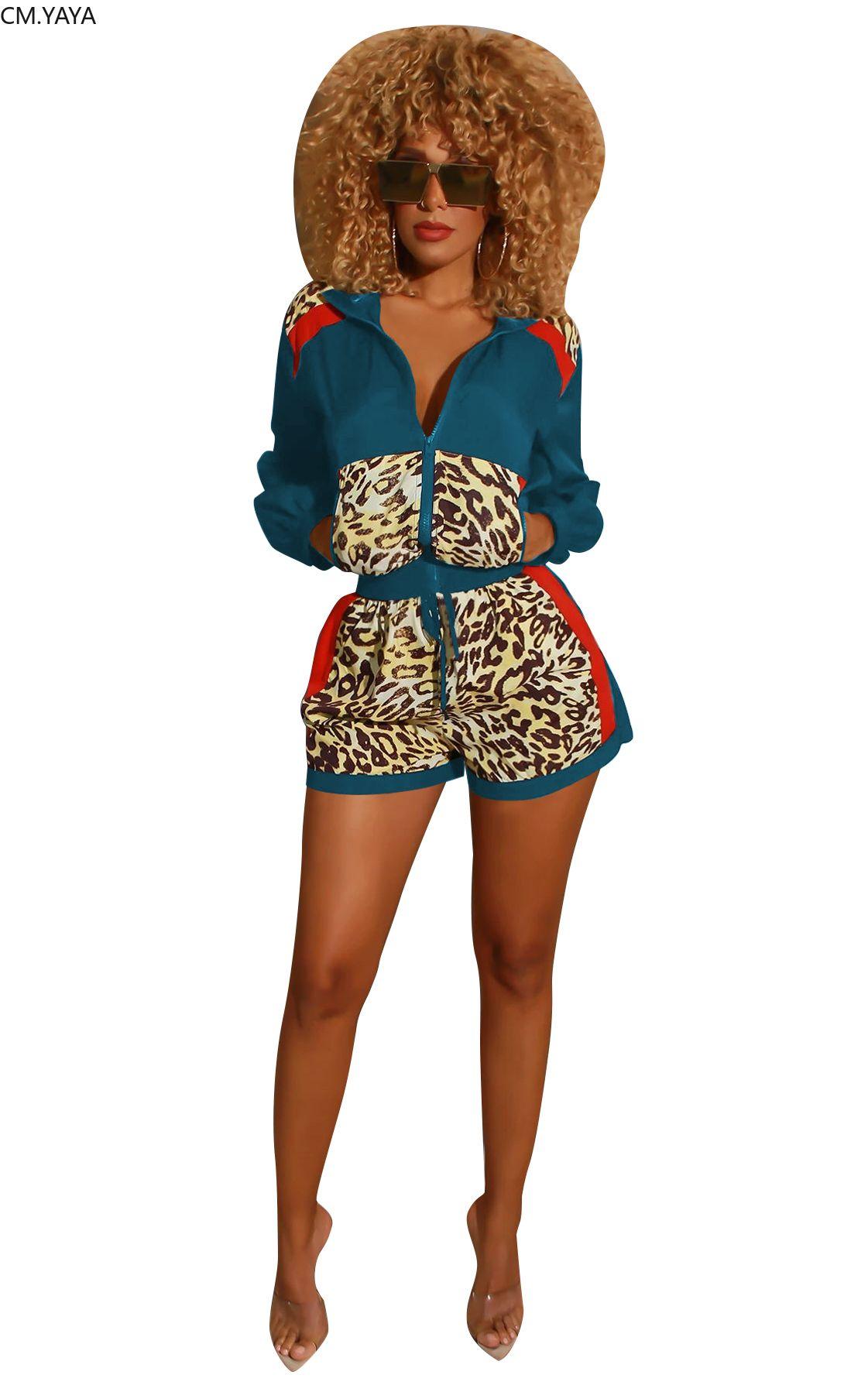 Gl Queda Winter Womens Set Manga Longa Leopardo Impressão Jaet Poetas Shorts Terno Streetwear Dois Peça Set Sporty Trasuit A3141Free transporte por ar