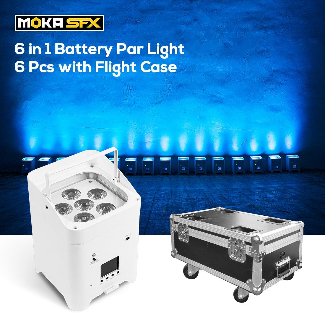 Efectos del LED de la luz de la luz de la batería 6PCS con la caja de vuelo 6x18W RGBWAUV Upsights DMX Control de WiFi remoto para la decoración de la boda