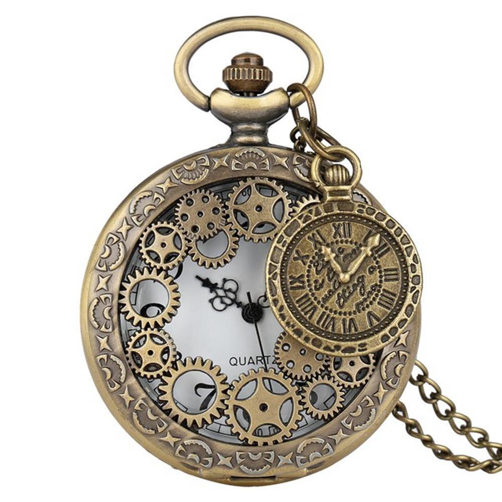 30 stücke Vintage Antike Kupfer Steampunk Uhren Bronze Hohl Zahnrad Quarz Taschenuhr Halskette Anhänger Uhr Kette Männer Frauen mit Zubehör
