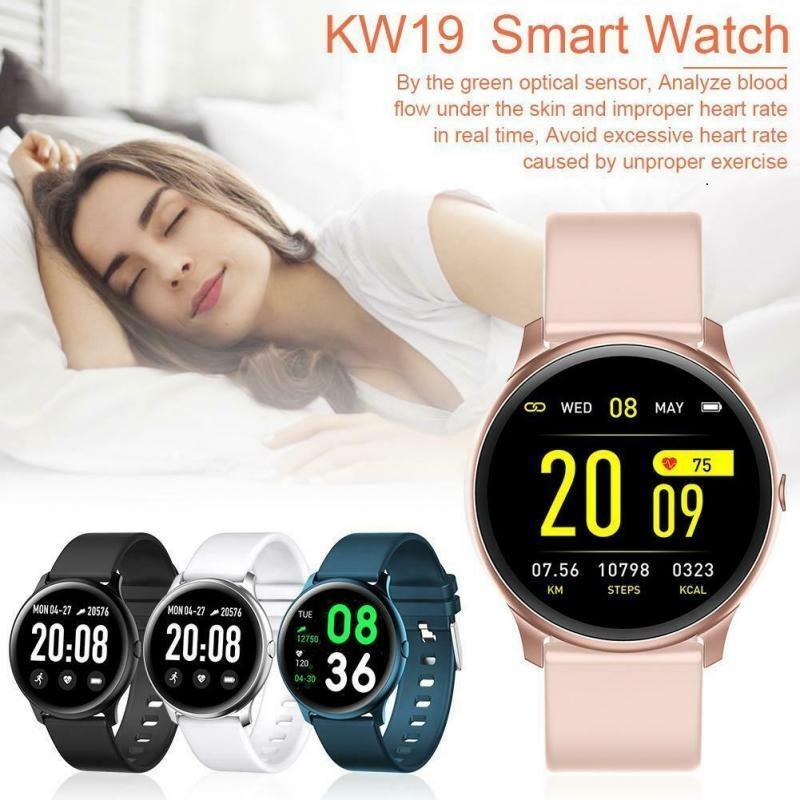 KW19 Smart Uhren Armband Wasserdichte Blutdruck Herzfrequenz Monitor Fitness Tracker Sport Intelligente Männer für Andriod mit Kleinkasten