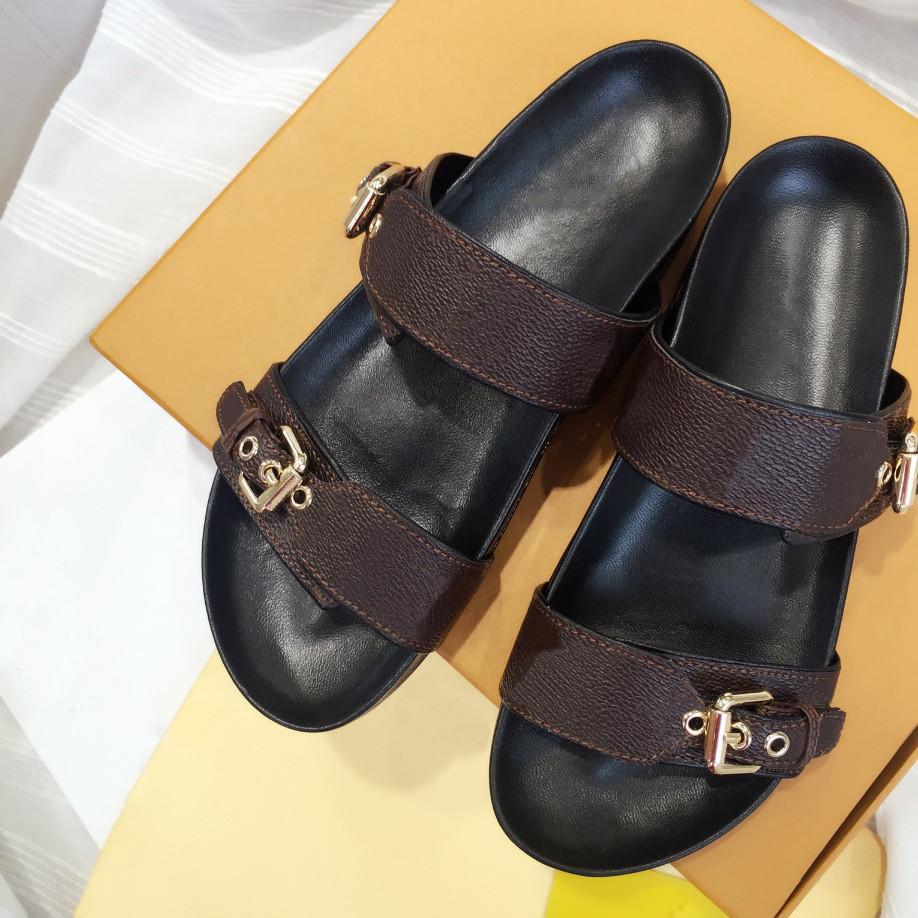 2021 Luxury bom dia flat mule Lady slipper Gentlemen Colorful Canvas Letter Anatomic Leather slide Model Designer slippers shoes