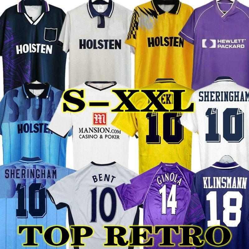 Klinsmann 08 09 Retro Soccer Jersey خمر Gascoigne Anderton Sheringham 1990 1998 1991 1982 1982 Tottenham Ginola Ferdinand 92 94 95 الكلاسيكية المئوية الزي الرسمي