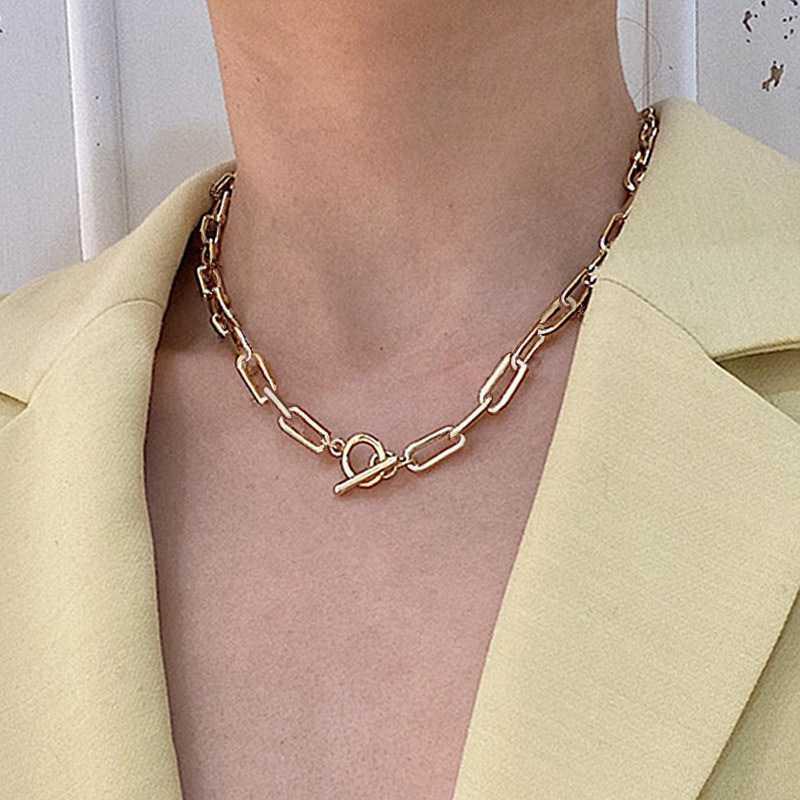 Cadena de palanca de palanca de palanca collar de oro collar de círculo ligado mezclado para mujeres cadenas de cuello de femme minimalista