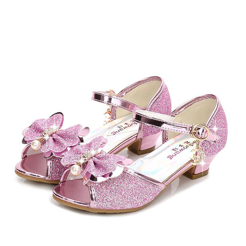 Sandals Girls Princess Shoes High-Heeled Waterproof Non-Slip Shiny Crystal Pearl Rhinestone Butterfly Knot Children