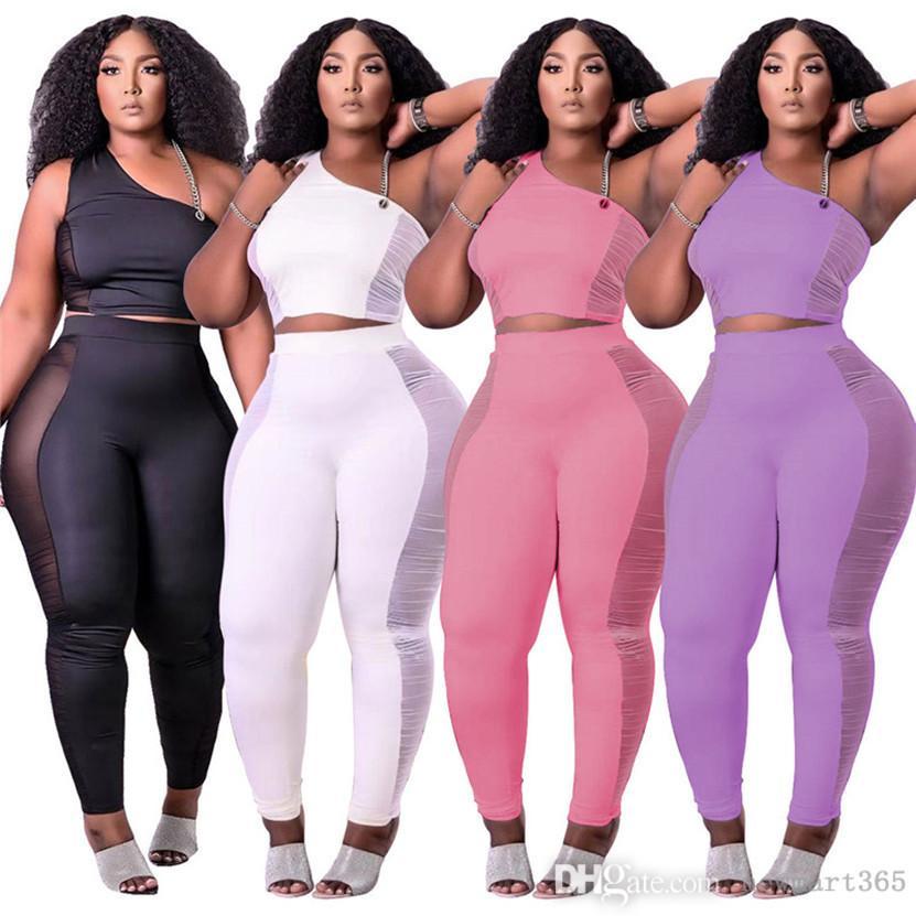 여름 옷 여성 복장 솔리드 트랙스 민소매 조끼 셔츠 + 바지 깎아 지른 메쉬 두 조각 세트 캐주얼 블랙 스포츠웨어 플러스 크기 2xl