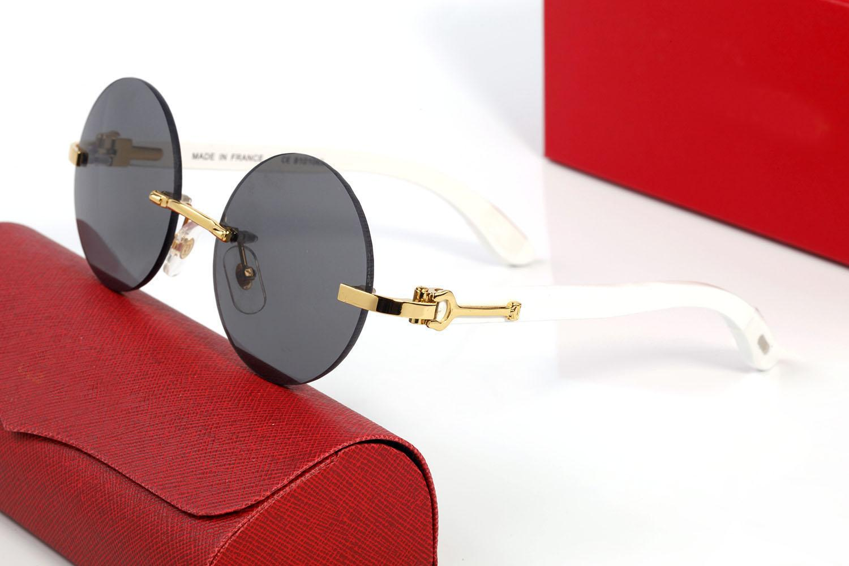 Yuvarlak Güneş Gözlüğü Marka Tasarım UV400 Gözlük Metal Altın Çerçeve Güneş Gözlükleri Erkekler Kadınlar Unisex Bufalo Boynuz Gözlük Siyah Kahverengi Lens Lunettes