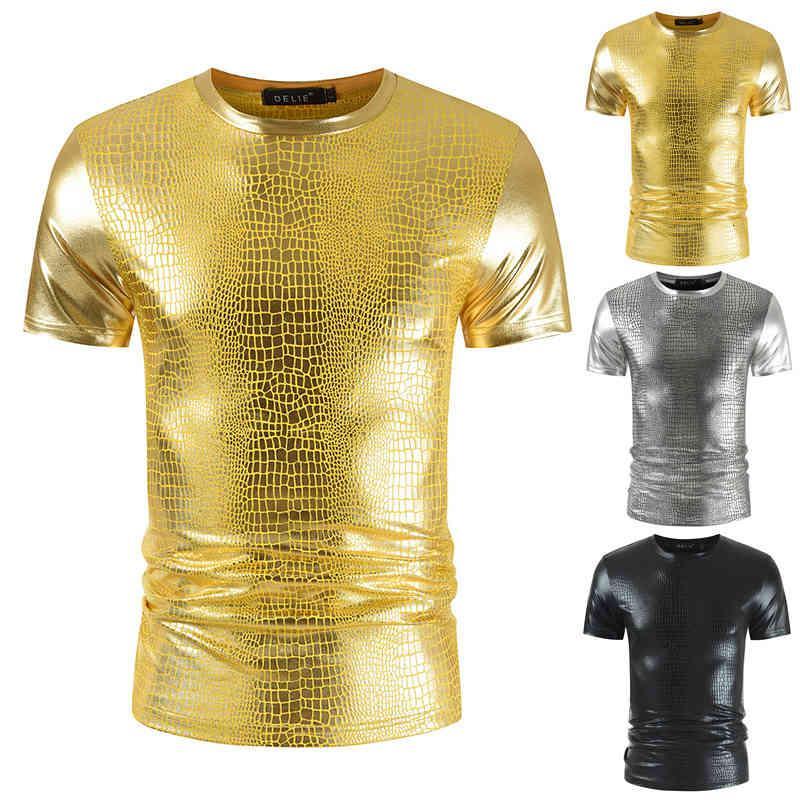 T-shirt à manches courtes à col rond coulissantes en serpent doré pour hommes
