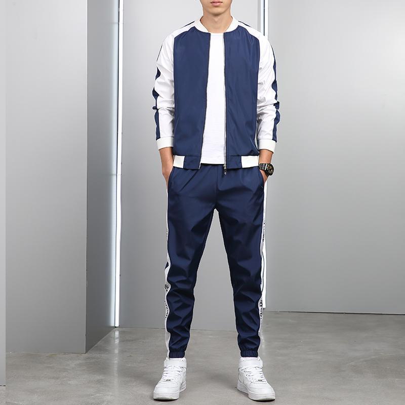 Automne Hommes Sweats à capuche Pantalons 2PCS / Set Sweat-shirt Pantalons de survêtement Homme Gyms Fitness Tops Pantalons Joggers Sportswear Tracksuits
