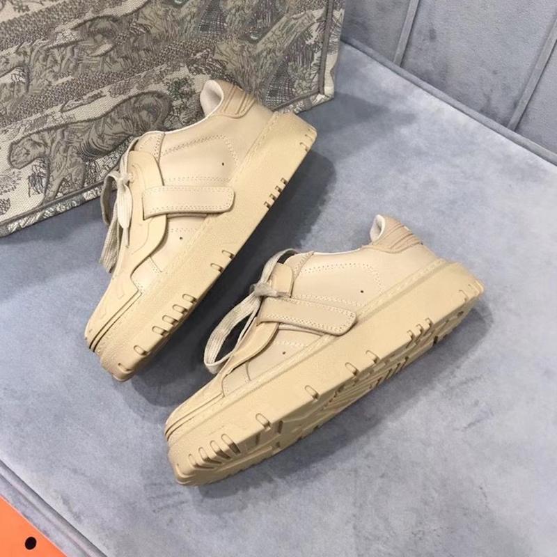المرأة معرف حذاء رياضة سلس الأحذية الجلدية المطاط شل تو عداء المدربين مصمم منصة أحذية رياضية الدانتيل متابعة عارضة الأحذية 7 ألوان 277