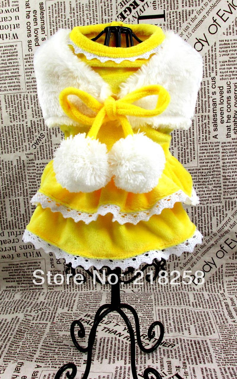 Dog Apparel Arrival Soft Yellow Beautiful Princess Pet Dogs Dress Coat By China Post Clothes