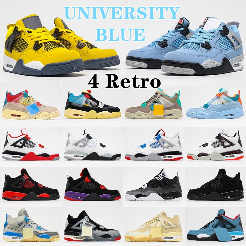 Air jordan 4 4s Retro Shoes kd 4 RETRO woman man Jumpman 4s Basketball Shoes mans Lady Sail Tattoos White Oreo University Blue Fire Red Taupe Haze Travis Bred Sneakers