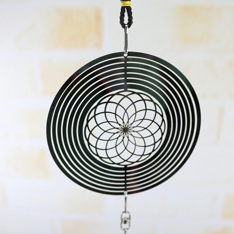 Dekorative Objekte Figuren 3D Metall Hängender Spinner Windklingel mit Spirale Schwanz Ball Center Home Decor JDH88