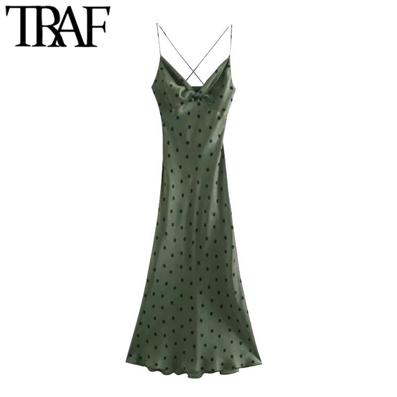 TRAF Mujeres Chic Moda con nudo Polka Dot Vestido Midi Vintage Cross Thin Treas Thin Treas Vestidos Femeninos Vestidos Mujer 210320