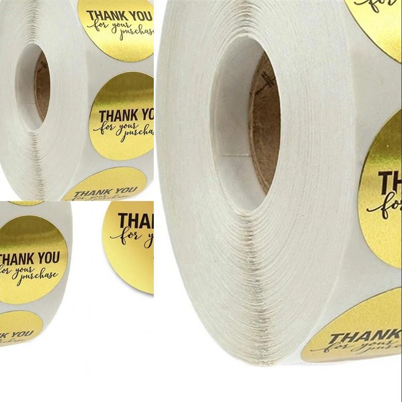 """Rundgold """"Vielen Dank für Ihren Einkauf"""" Aufkleber Dichtung Etiketten 500 Etiketten Aufkleber Scrapbooking für Packung Schreibwaren Aufkleber OK YAS 374 R2"""