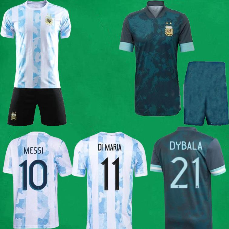 21/22 Argentinien Fußball Jersey Kurz Copa America 2021 Messi Dybala di Maria Maradona Lautaro Football Hemden Home Away Herren Kids Kit Sport Uniformen MAILLOT DE FOOT