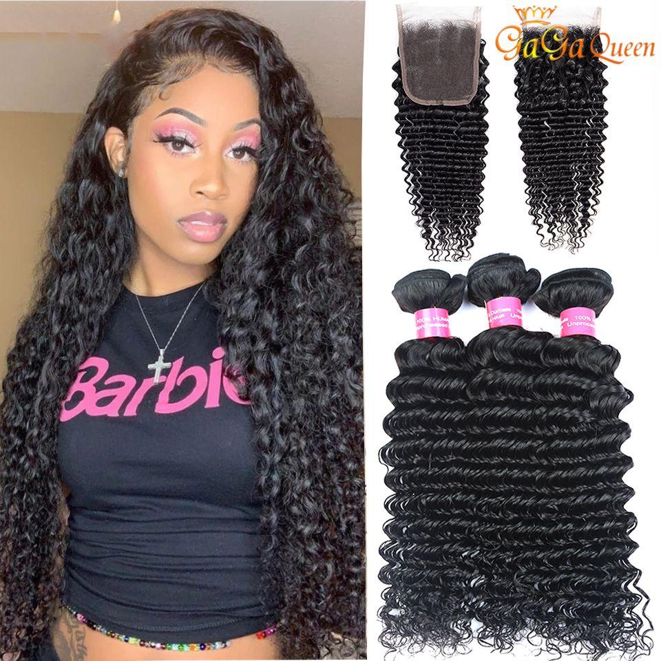 Onda profunda brasileira com feixes de cabelo de fechamento com fecho 4x4 3 pacotes cabelo virgem brasileira com fecho não processado cabelo humano tece