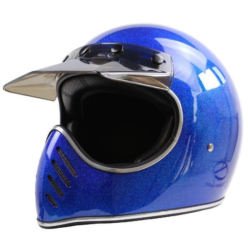 레트로 전체 얼굴 오토바이 안전 헬멧 경량 유리 섬유 Detece 인증 헬멧