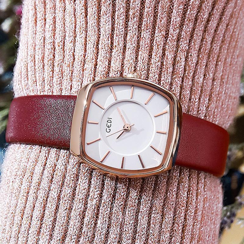 Wristwatches 2021 Fashion Square Simple Ladies Belt Watch Casual Students Waterproof Quartz