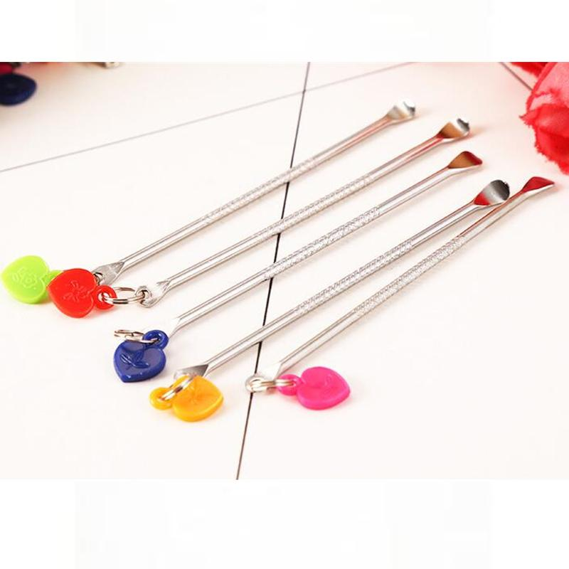 Bag Dry Herb Tobacco Stainless Steel 70mm 2.8in Length Dabber Wax Oil Dab Metal Tool With Colorful Plastic Heart Shaped Pendant