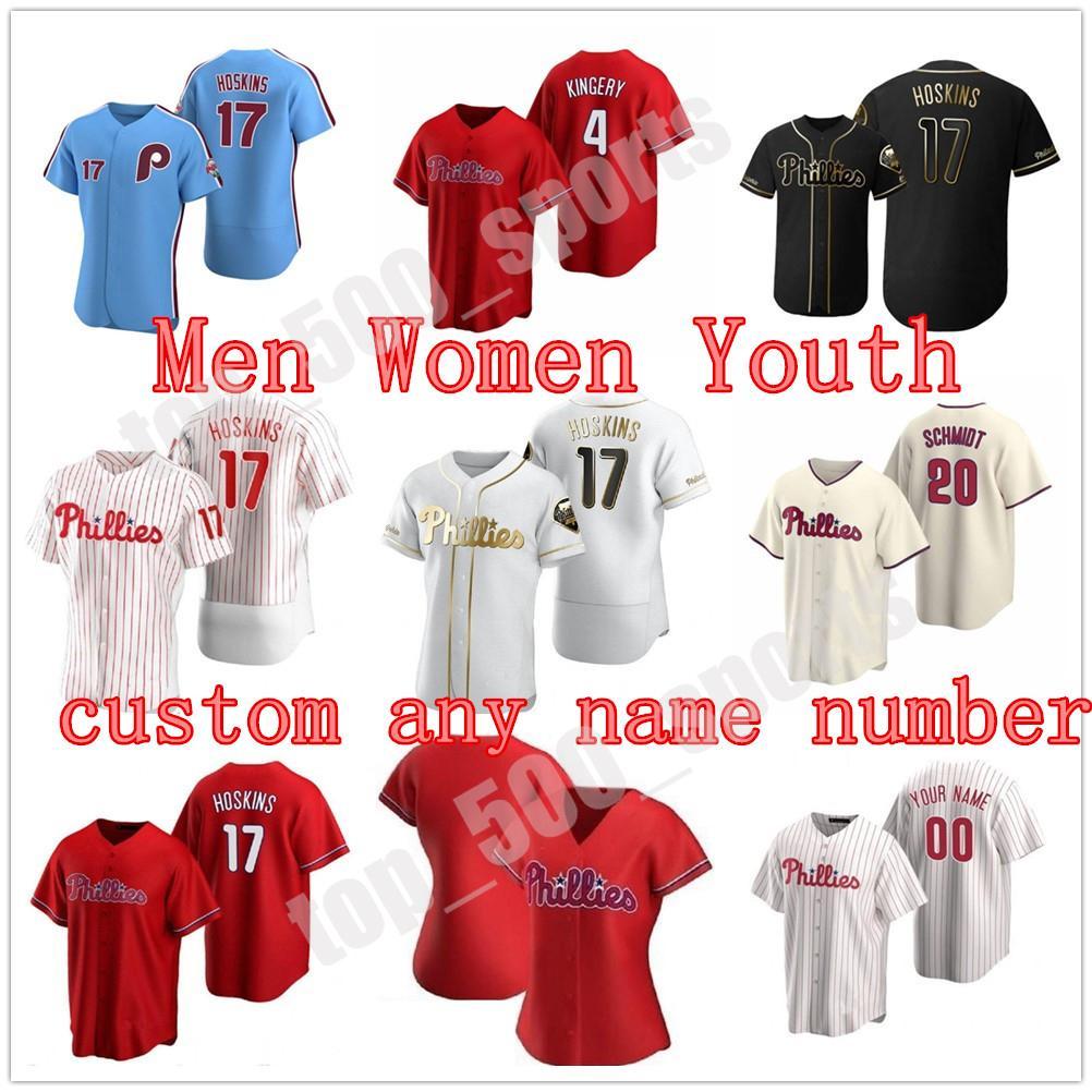 Philadelphia 2021 Phillies Jersey 3 Bryceharpe 17 Rhys Hoskins 10 Jt RealMuto Homens Mulheres Juventude Crianças Qualquer Nome Número Jerseys Costurado