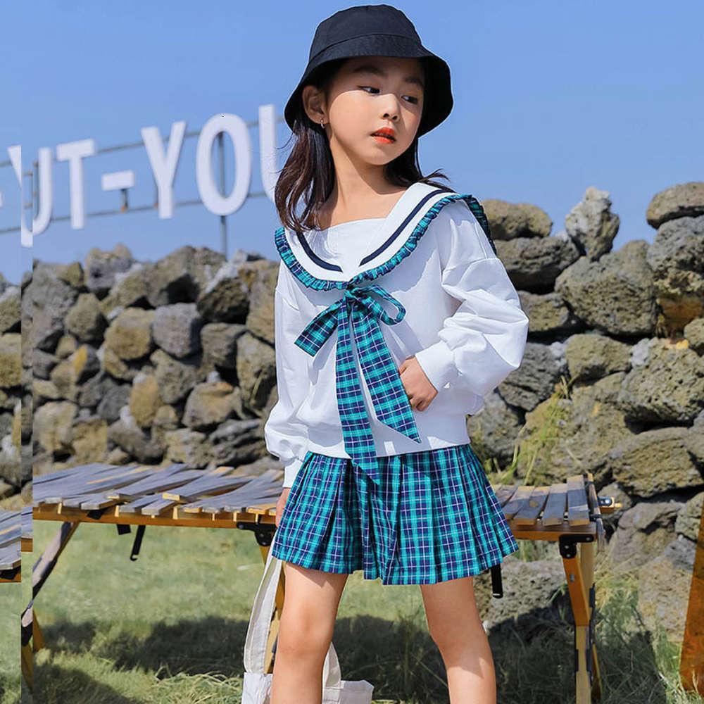 Enfants Vêtements Filles Costume Printemps Foreign 2021 Style d'école Enfants JK Uniforme Jupe Net Rouge 2 pièces Ensemble