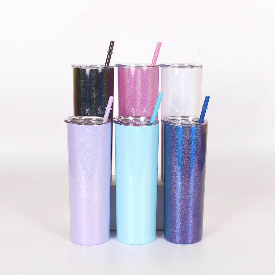 20oz sublimação vácuo isolado garrafa colorida glitter reto copo magro com local de palha de tampa caneca de café marinho GGA3226