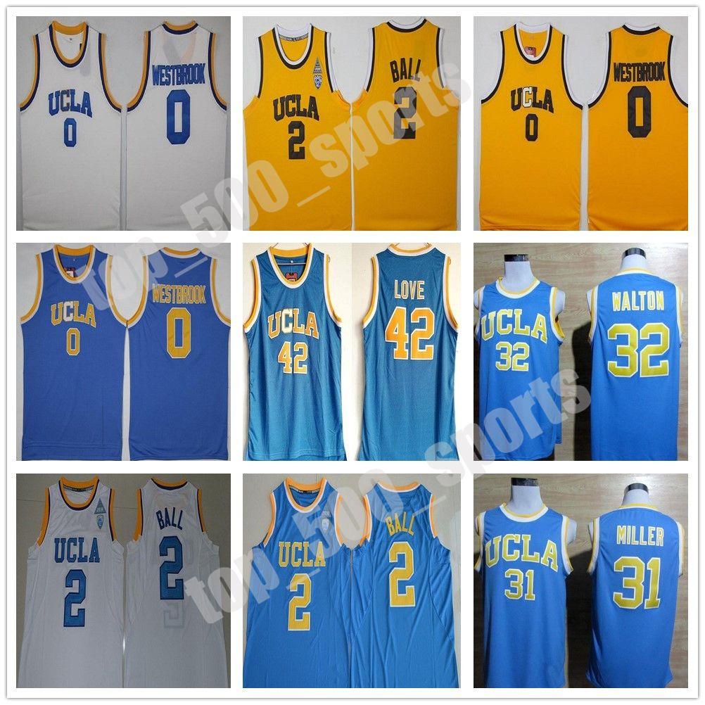 UCLA BRUINS 대학 농구 러셀 웨스트 브룩 LINZO 공 ZACH 라빈 레지 밀러 빌 월튼 케빈 러브 블루 저지
