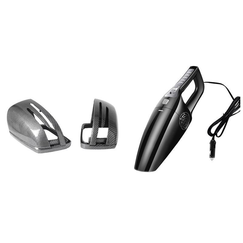Pcs Rearview Mirror Cover Carbon Fiber & 1 Set Car Vacuum Cleaner 120W Suction Portable Handheld Cleaners
