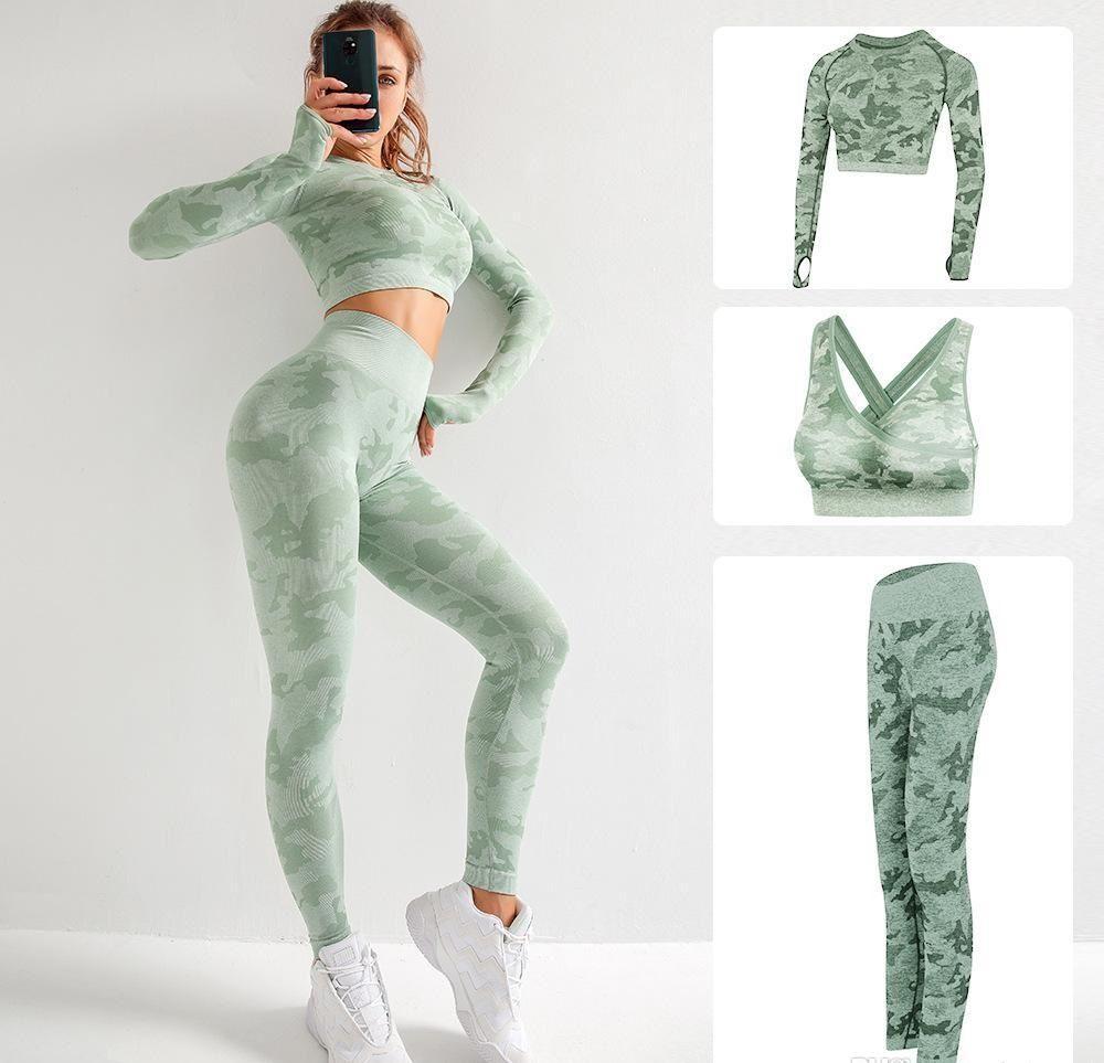Diseñador de marca de alta calidad Trajes de yoga de algodón para mujer Traje de yoga de manga larga Ropa deportiva Gimnasio Gimnasio Deporte Set de tres piezas 3pcs Trajes Sujetador