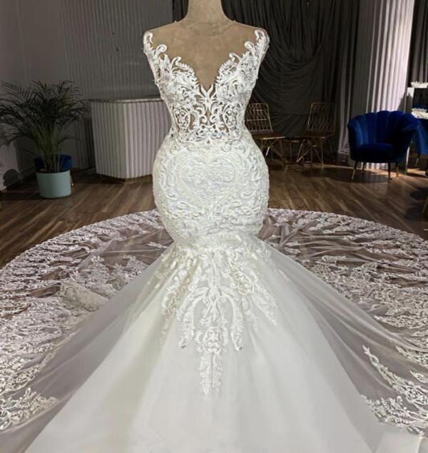 2021 Mermaid Wedding Dress chapel Train 3D Appliques Jewel Lace Bridal Gowns Customized vestidos de novia