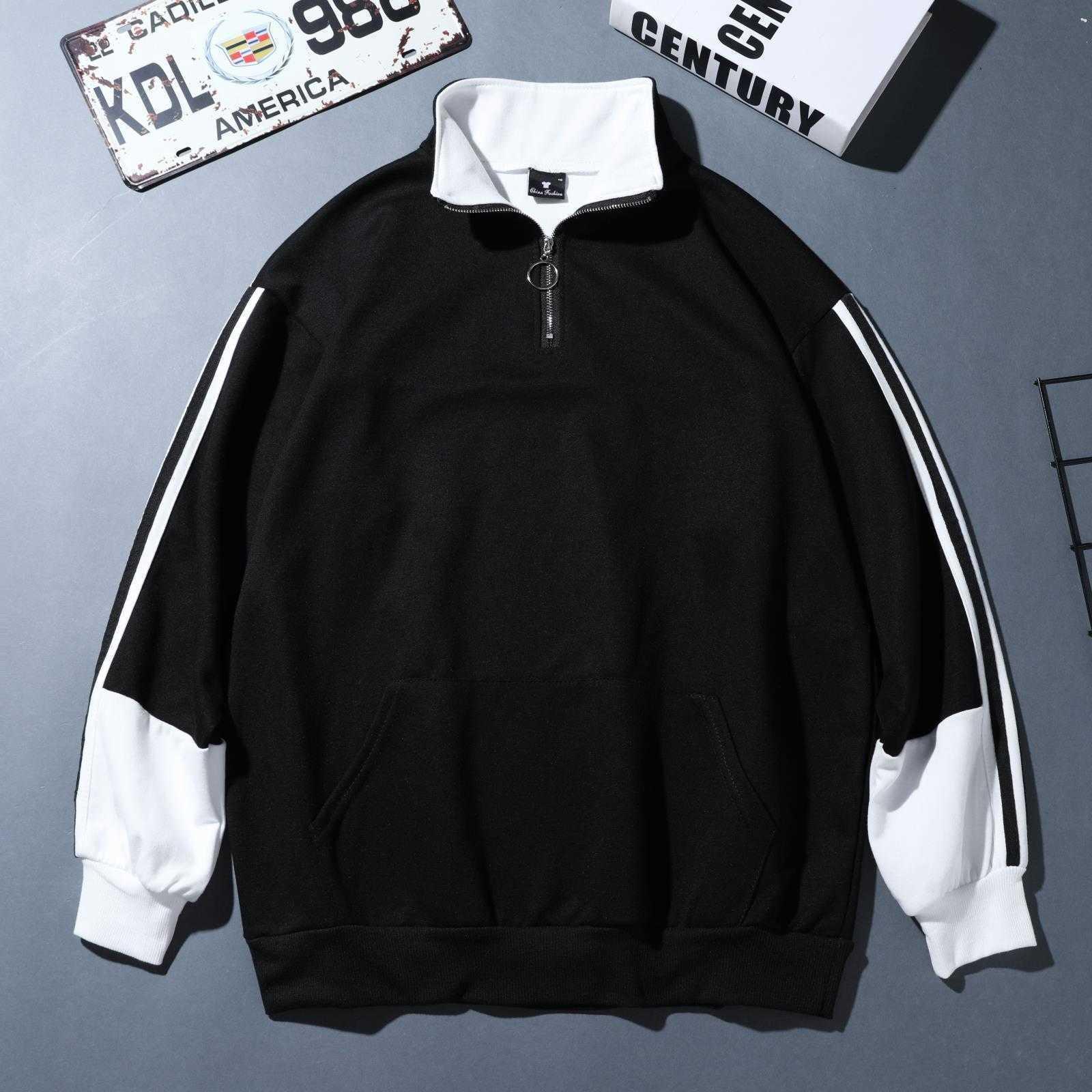 남성의 후드 패션 디자이너 연인 거리 색상 일치하는 의류 코트 스웨터 삽입 청바지와 바지에 딱 맞는