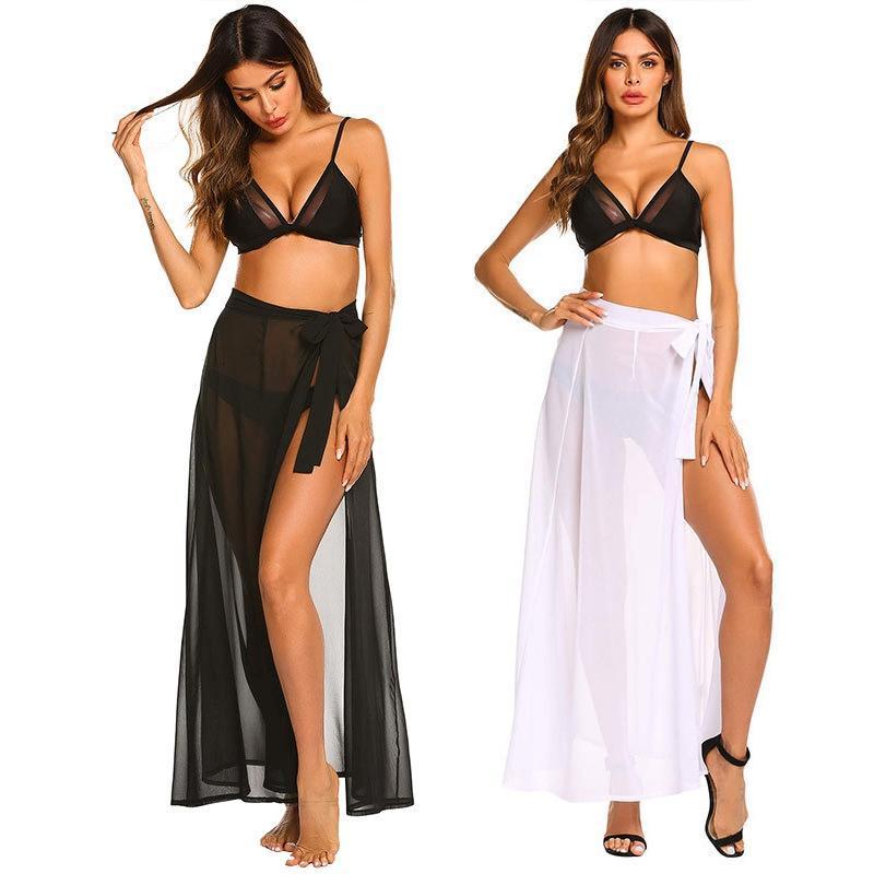 Mulheres Swimwear Mulheres Swimsuit Cobrir Verão Chiffon Short Sarong Beach Sheer Wrap Skirt Cobertura de Biquíni para Senhoras