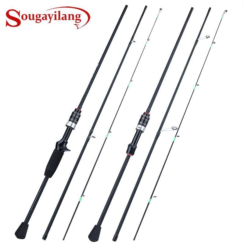 Sougayilang 1.8m trout haste 3 seções Fibra de carbono fundição / girando punho de eva 0,8-5g lure pólo de pesca pólo tackle pesca barco barcos