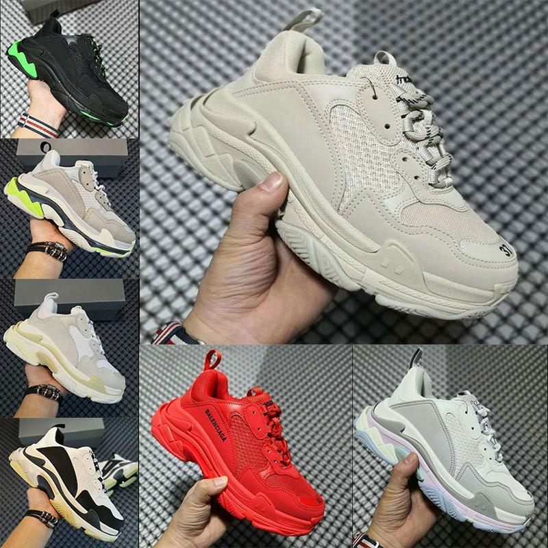 مصمم 3 أزياء باريس 17FW ثلاثة أحذية رياضية ربط عشاق للرجال أبيض وأسود الأخضر عارضة أبي التنس 35-45