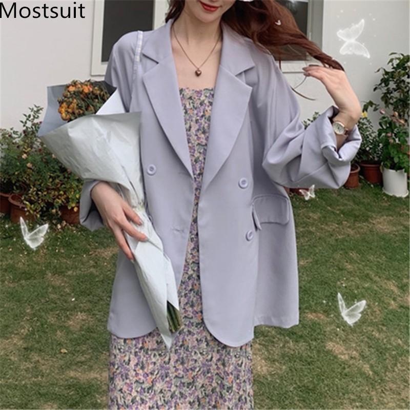 Possitisui custodia a doppio petto sottile vestito cappotto manica completa coreano solido sciolto giacca casual femme 210514