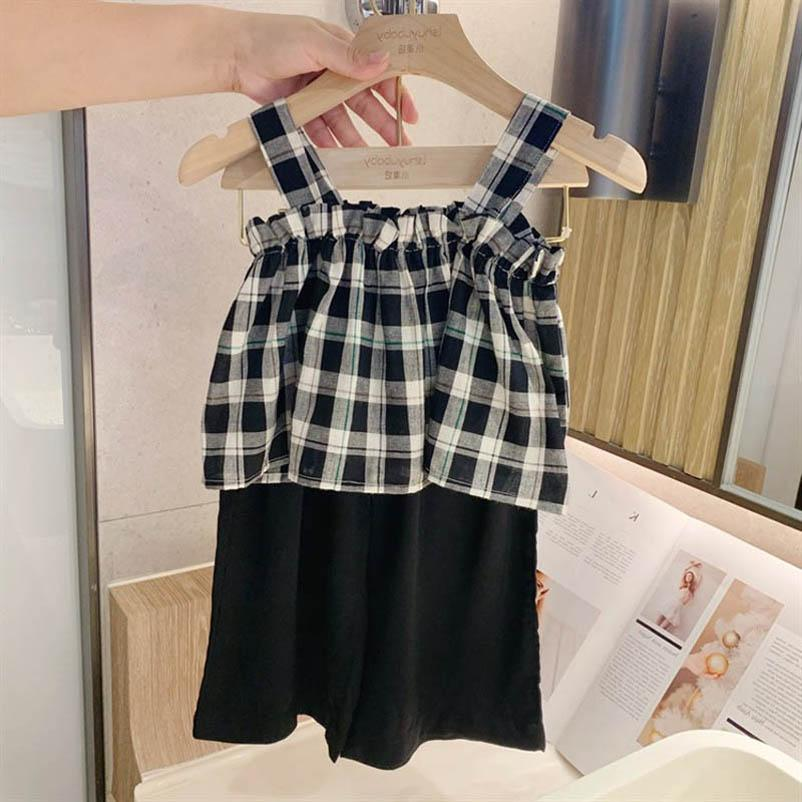 Clothing Sets Girl Suit Outfits Baby Clothes Children Summer Plaid Tank Tops Pants Beach Suits 2Pcs B5511