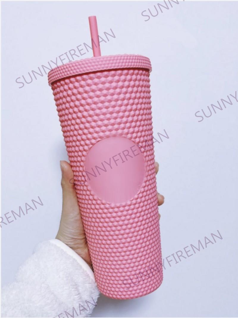 Com / sem logotipo 710ml / 24oz dupla camada durian palha copo de plástico xícara de café brilhante deusa de deusa de goddess sky sky copos de palha
