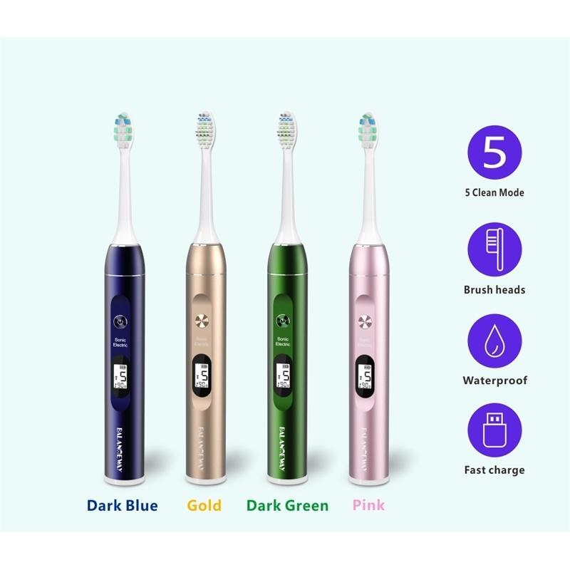 LCD tela 5 modos liga de alumínio recarregável escova de dente elétrico sonoro com substituição escova de escova branqueamento adulto ipx7 210310