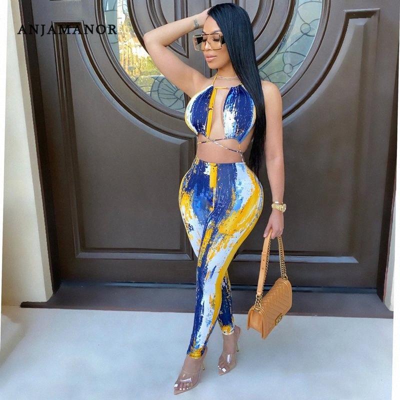 Anjamanor Kravat Boya Dantel Yukarı Kadınlar için Bodycon Tulumları Oymak 2020 Parti Seksi Kulübü Kıyafetler Halter Backless Rompers D57-CZ25 45vh #
