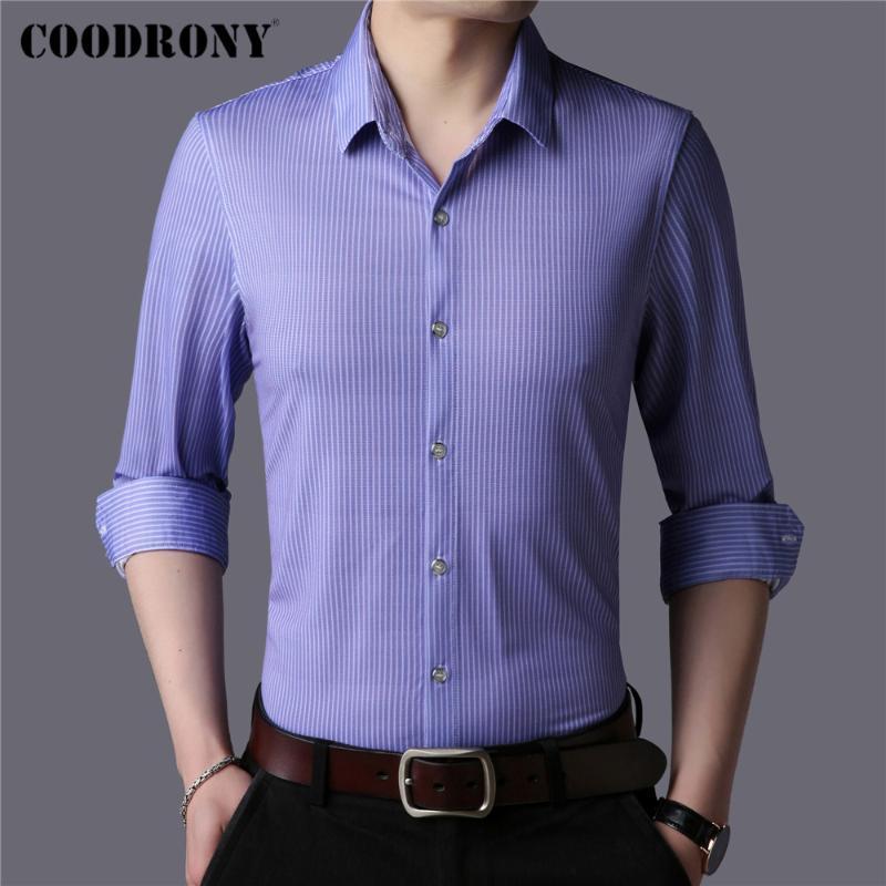 브랜드 비즈니스 캐주얼 소셜 드레스 봄 가을 도착 스트라이프 면화 긴 소매 슬림 피트 셔츠 남성 의류 C6170 남자 셔츠