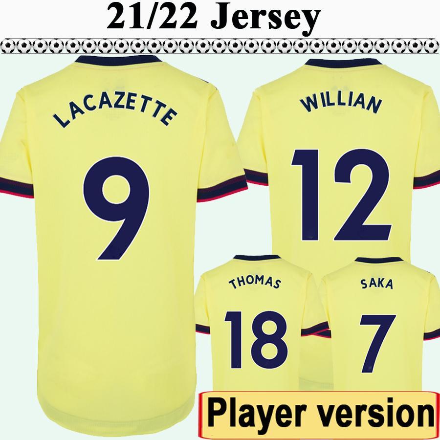 21 22 Version joueur Mens Tierney Saka Saka Soccer Jerseys Maitland-Niles Thomas Pepe Home Away 3ème manches courtes Chemise de football