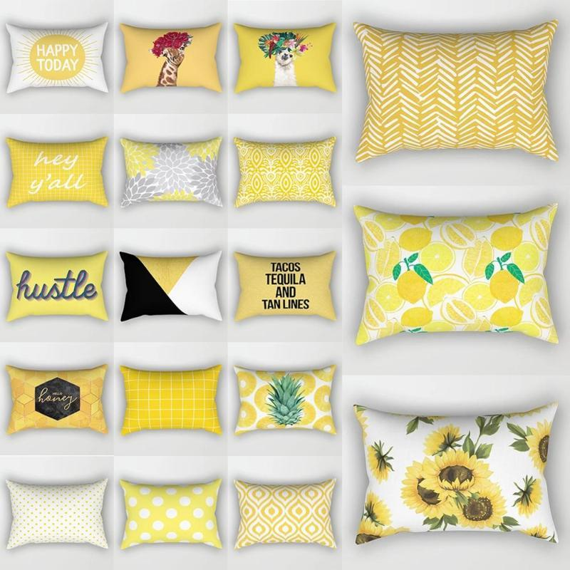 Caso de travesseiro amarelo nórdico estojo curto pelúcia almofada de almofada sofá sofá sala de estar retangular casa decoração 30 * 50 cm