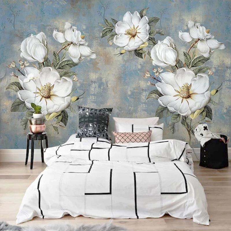 Fondos de pantalla personalizado PO vintage abstracto pintura al óleo flores grandes dormitorio sala de estar decoración decoración casera impermeable