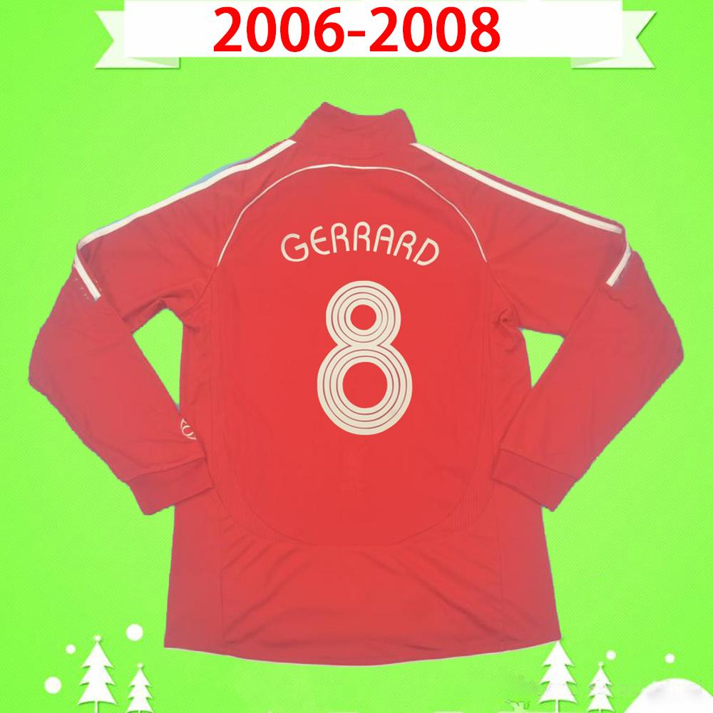 Liverpool S-2XL de manga larga 2006 2007 2008 Jersey de fútbol Retro 06 07 08 Camisa de fútbol vintage de casa roja clásica Completa Maillot de pie # 8 Gerrard